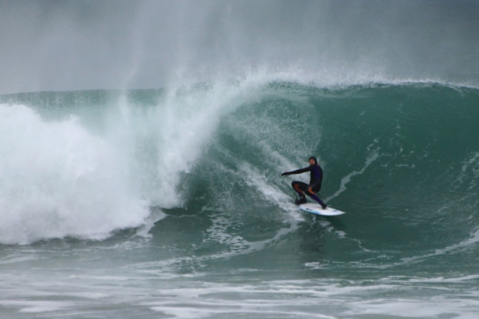 Joe Moran layback, stall and hope on March 31st at Fistral.