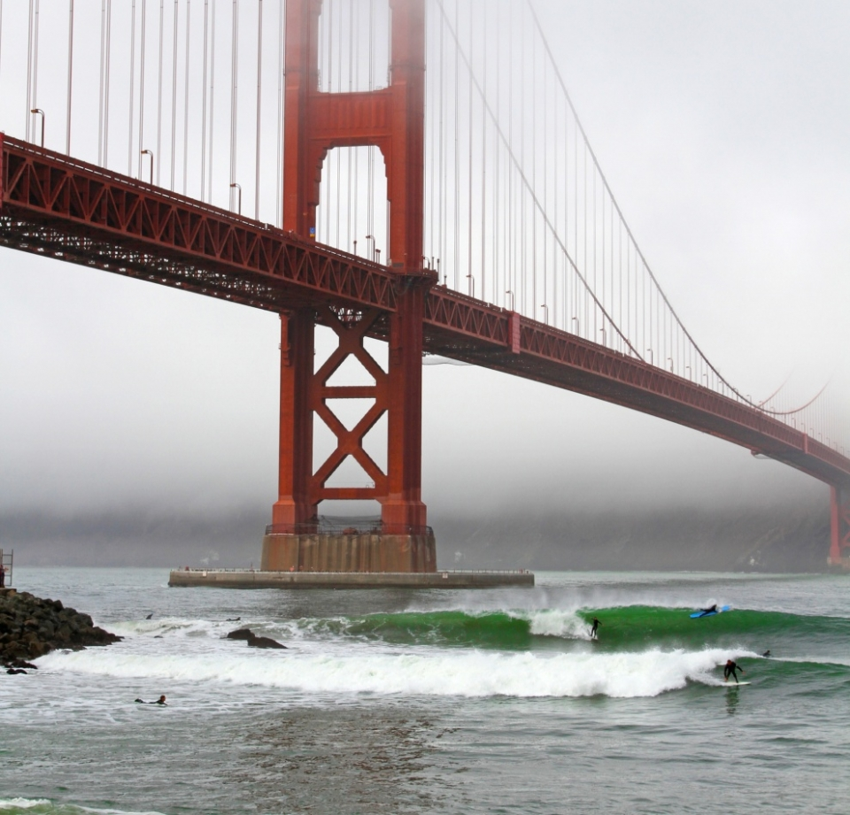 Fort Point, San Francisco.  Sept 30 was the first big swell event of the 2013/2014 season and I made it a point to swing by Fort Point after finishing some photo shoots in Marin. The swell was filling in all day at 13ft at 15 seconds, but due to the northerly direction of the swell, some of the energy was blocked by Point Reyes (Point Reyes shadow). Either way, the ocean was pumping and as the tide dropped out, some really nice sets pushed through in the afternoon. It's pretty amazing to stand under such an iconic landmark to watch the North Pacific do its thing.