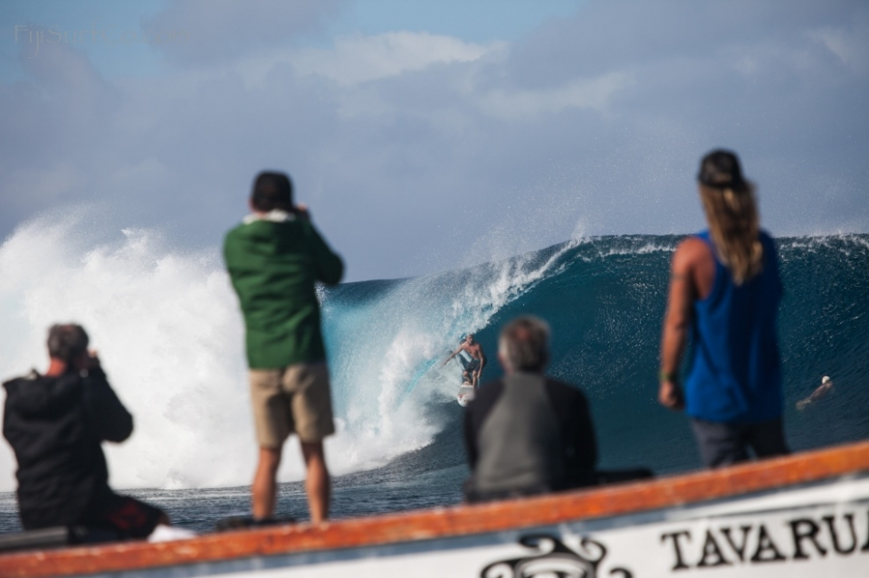 Cloudbreak, Tavarua.  Mick Fanning performing for the final chapter of 'Missing', Taylor Steele's latest project. Cloudbreak kegs are a good way of dispelling any world title anxiety.