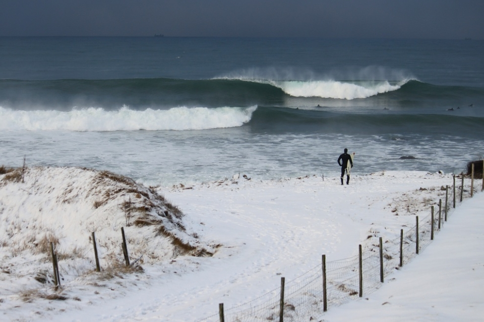 Bore, Norway.  This shot was taken two days after the big winter storm that hit. We had consistent solid waves for a week. Typically Norway's best surfing months are also the coldest. Air temps fluctuate from -3 to +5°C, while water temps stay around 4 to 5°C degrees from October to February, which usually keeps the crowds nice and thin.