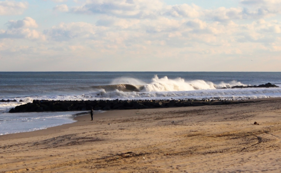 Somewhere in this sediment infused barrel Keith Noonan is savouring the view. Deal, New Jersey.