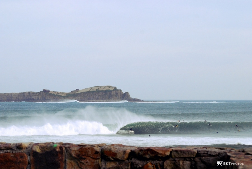 Mundaka, Basque Country.  Well just a month ago we didn't have any waves for almost a month, and suddenly this week has been crazy. Mundaka has been pumping for the last 3 days, with 2m+ waves. I don't know who the guy is, but yesterday all the pros from the Basque Country were there  (Aritz Aranburu, Hodei Collazo, Indar Unanue, Txaber Trojaola, Eneko Acero, Kepa Acero). He made the barrel.