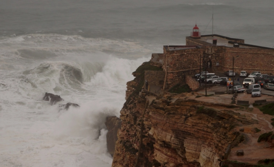 The famous rocks and waves of Nazare.