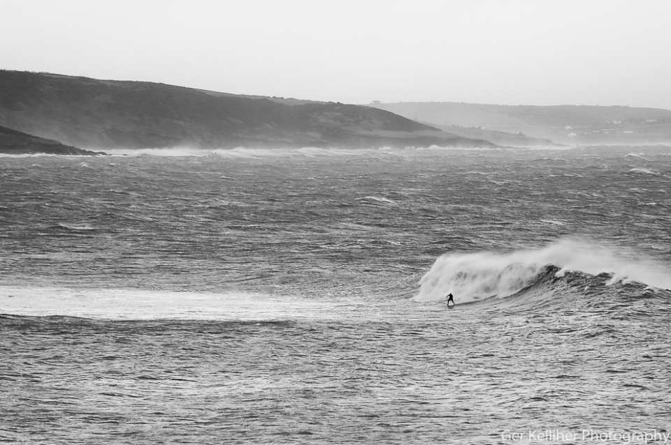 Meanwhile in Ireland, this surfer rode the storm all on his lonesome.