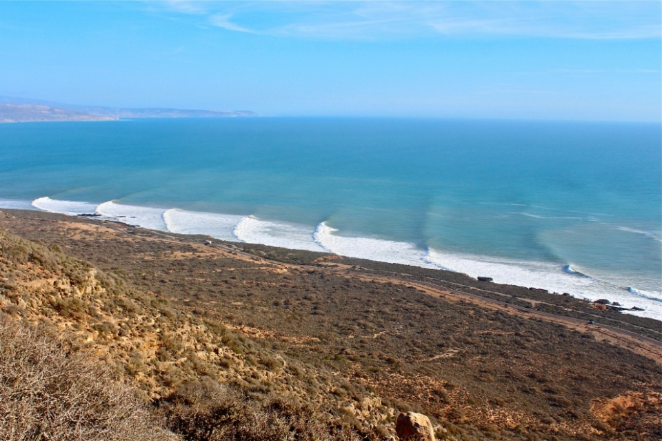 The mayhem wasn't confined to European shores. This vista encompasses two well known Moroccan points looking decidedly like one.