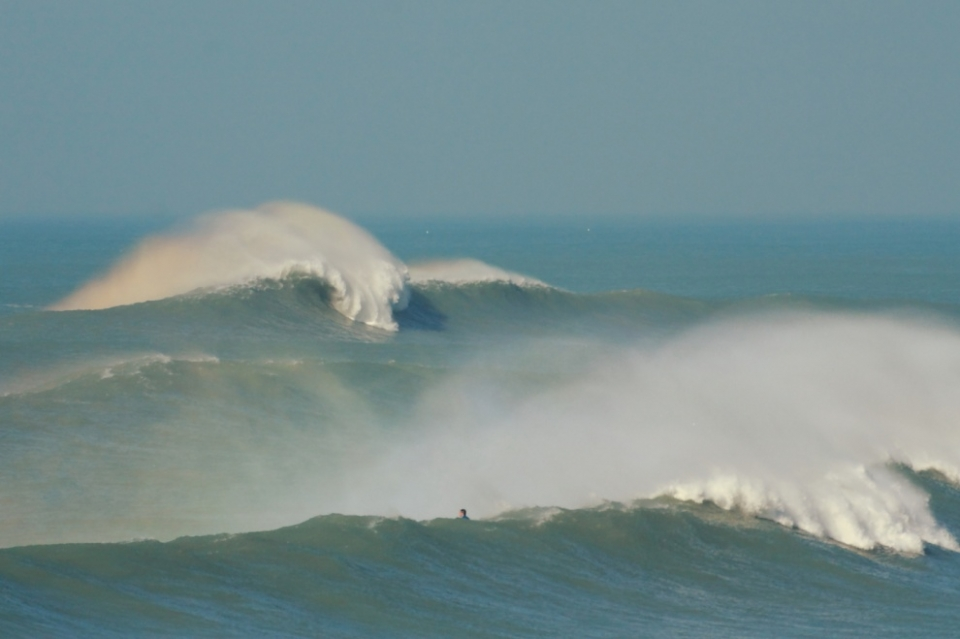 England's best known big wave spot, The Cribbar, also showed its face on Sunday.
