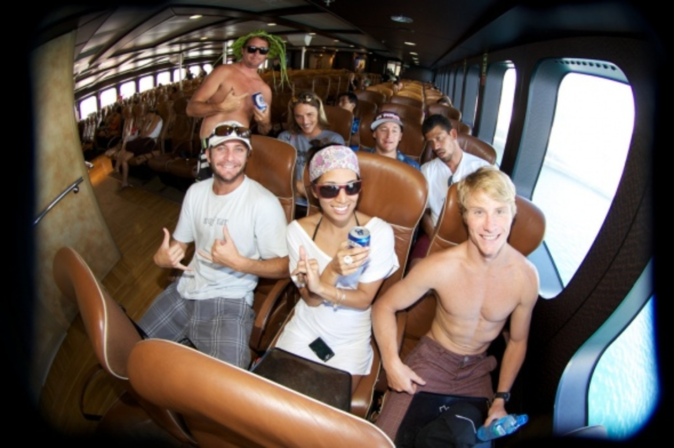The crew aboard the god ship Aremiti. It costs around ten bucks for the 1/2 hour ferry from Tahiti to the island.