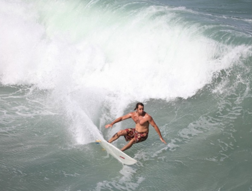 The contest machine with a big bottom turn during a Northside free surf  ... Bryce Cohen