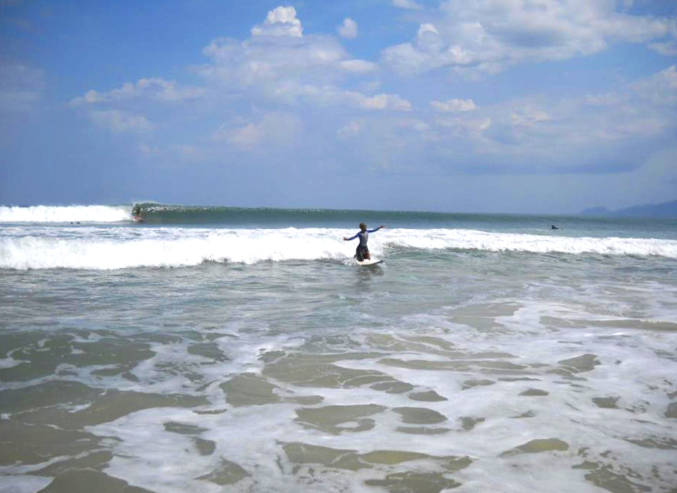 One stoked surfer and one long left wall ... The goofy inside me leaps and shouts to get out there