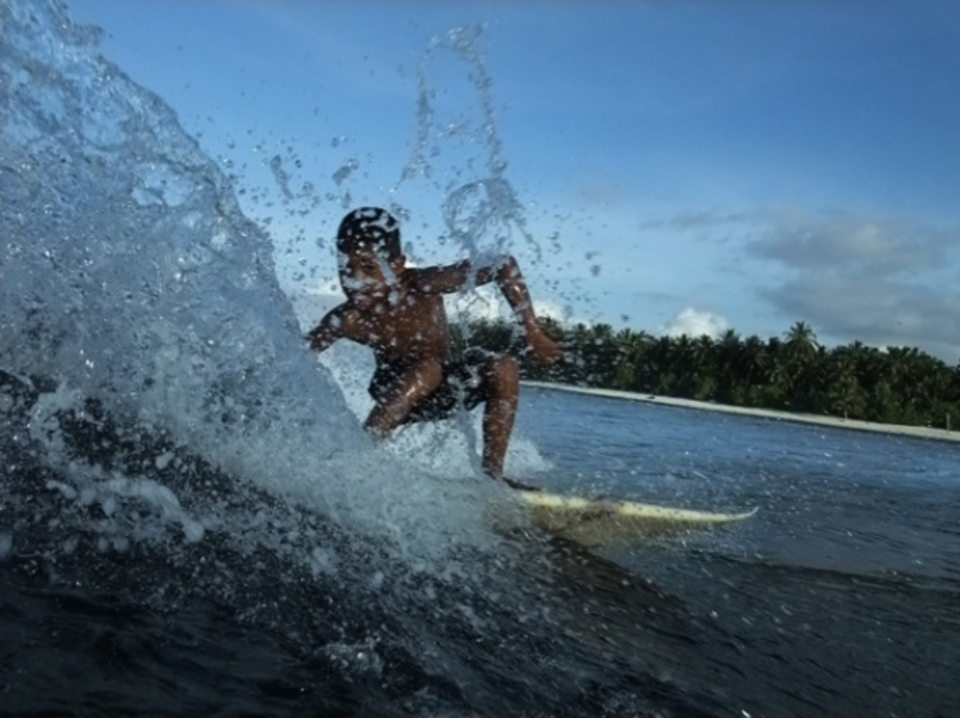 Future Mentawai junior champ showing he loves the camera ... Lance's Right