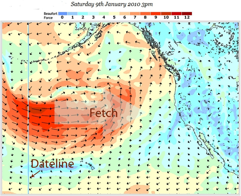 Storm two, blowing on an already lumpy and angered sea will quickly build into a sizeable swell.    Forming off Japan and really strengthening over the dateline, forecasts indicate three days of 40kts plus winds over a broad fetch.   Essentially blowing westerly for the duration of the storm - forecasts indicate a peak ocean swell size in excess of 40ft.