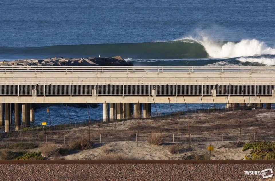 Meanwhile down south in San Diego, this normally packed lineup was nearly empty. Surfed out anyone?