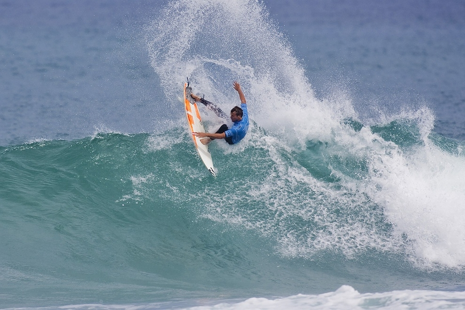 Taj Burrow fell to fellow Aussie Mick Fannning in what you could term an 'upset' in the semis (not the phrase you would have used 12 months ago).    Mr Burrrow has been on such a rich vein of form since his Pipe Masters win you wouldn't have bet against him cleaning up again. He looks leaner, fitter and faster than he has for a long while. Even if by all accounts he had a bacon and egg bap before heading out.