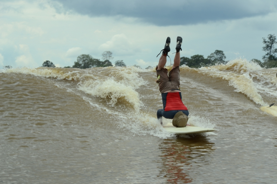 """Breaking the record is fantastic. I only stopped when the wave finished,"" says Steve King. ""We saw a couple of crocs which was scary. You certainly don't see them in the Severn. I've been surfing for 30 years and the Bono on Kampar River was only discovered in recent years so I had to do it."""