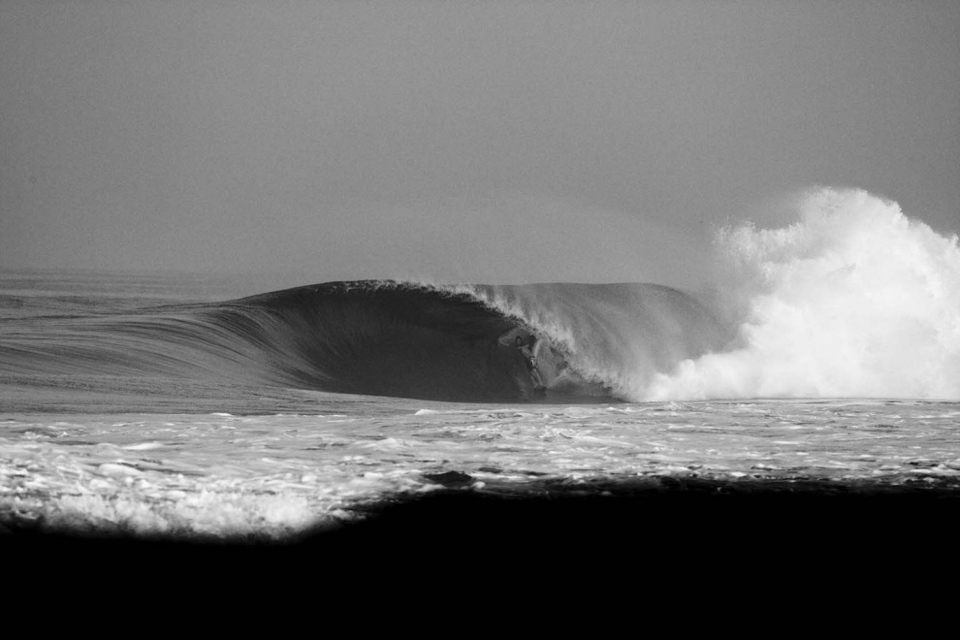 Jamie's about 3,000 east of Pipeline but still right at home.