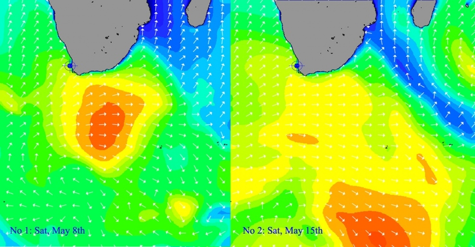 Comparative analysis:     Swell one generated locally (1000 miles away) but kept a little low to fully impact this particular reef. Shifting along the heel of Africa it imparted a particular version of magic on the Indonesian coastline just as the second swell was hitting Dungeons.    Swell two initiated from a series of complex lows (several centres) which vaguely clustered over 2000 miles distant, down around the Sandwich Islands, deep in the Furious 50s. It came in bigger but a little more mixed-up than the first week's swell, adding to the pre-existing unpredictability factor.    For both swells high pressure sat kindly over the mainland allowing that glorious interaction of serious South Atlantic juice and calm winds.