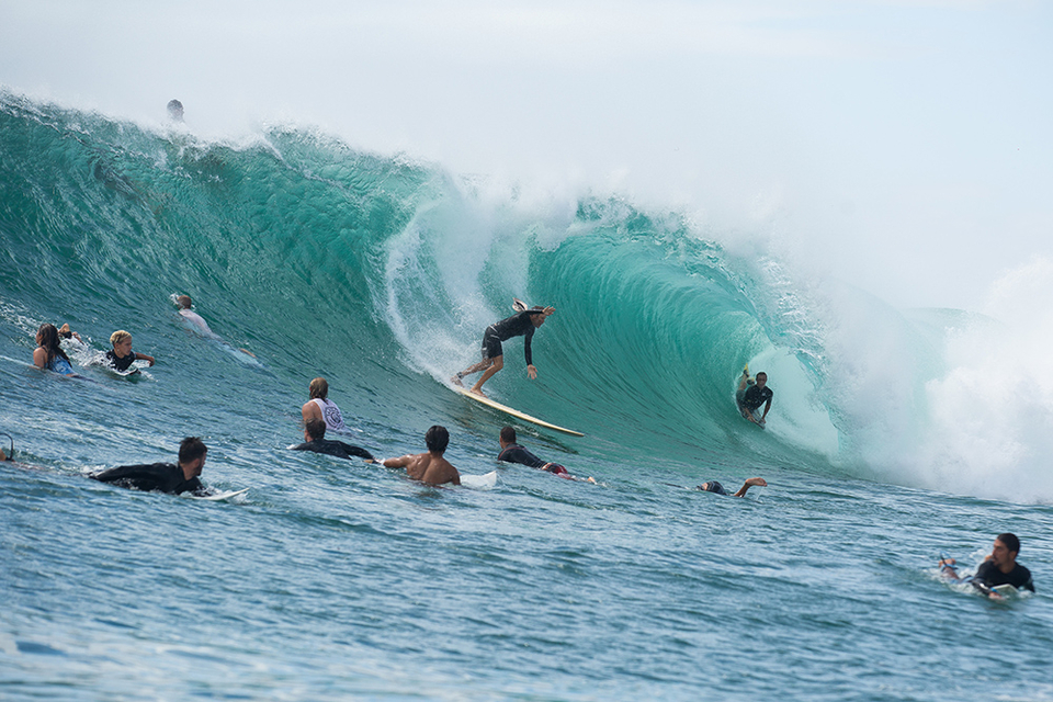 On a good day at certain spots, the only way you're getting a wave is by waiting for someone else to fall, (or not).