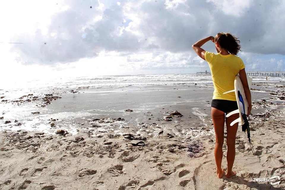 Thank God that's not oil on the beach! The Texas coastline has thus been spared from the catastrophic BP oil spill.
