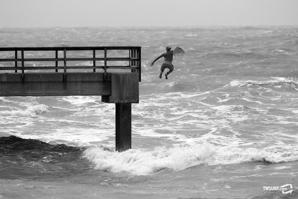 No matter where you are, it's a hell of a lot easier to jump off a pier than paddle out through short interval swell like Hurricane Alex offered up.