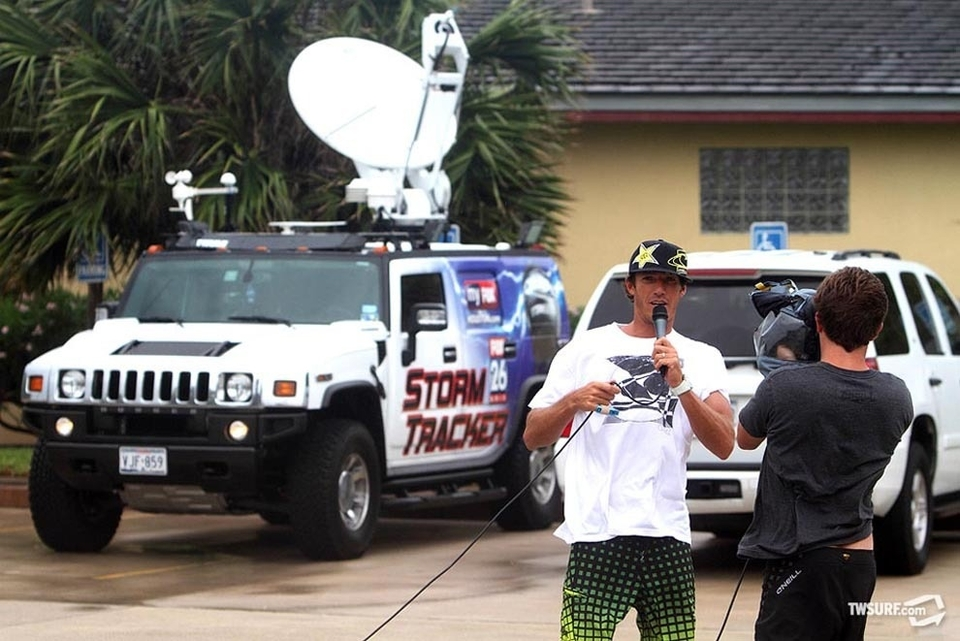 Cory Lopez gives Alek Parker's cameraman an interview while on location on South Padre Island during Hurricane Alex.