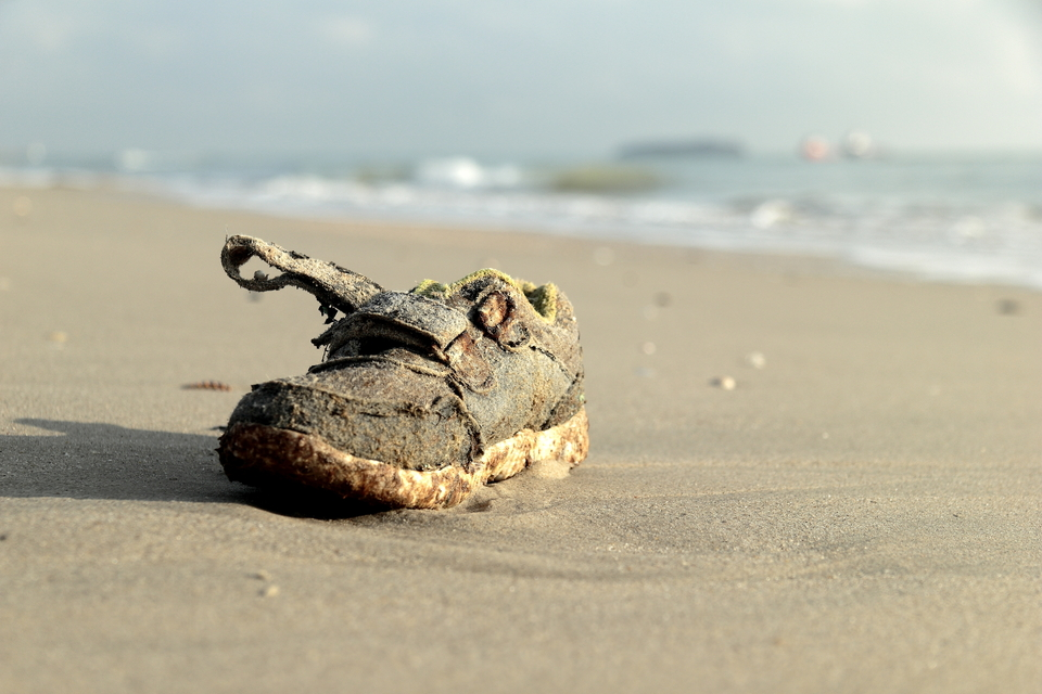 Disposable shoes last forever, washing up on beaches across the globe.