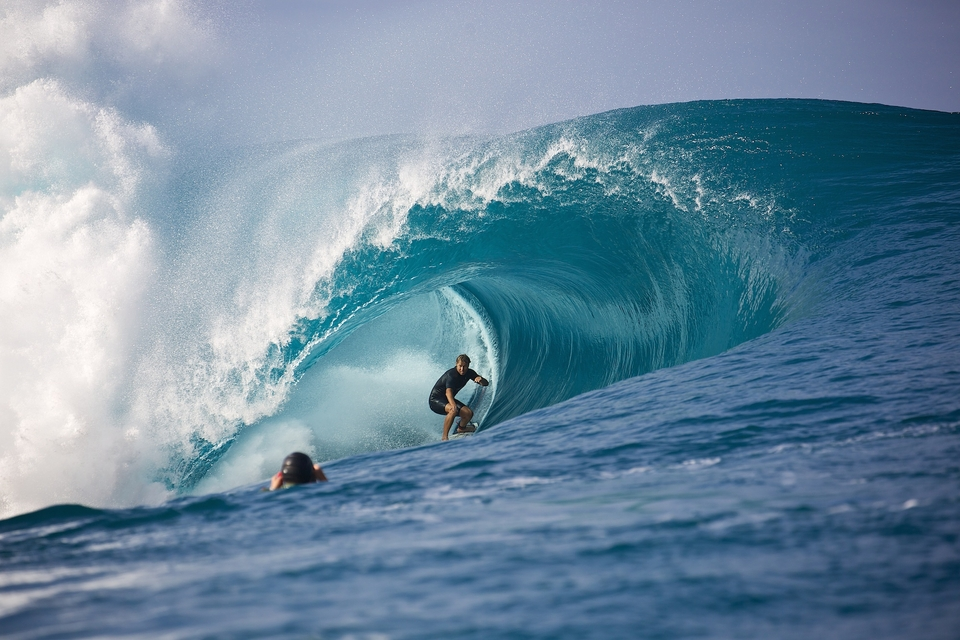 Anthony Walsh paddled into the west bowl early in the morning.