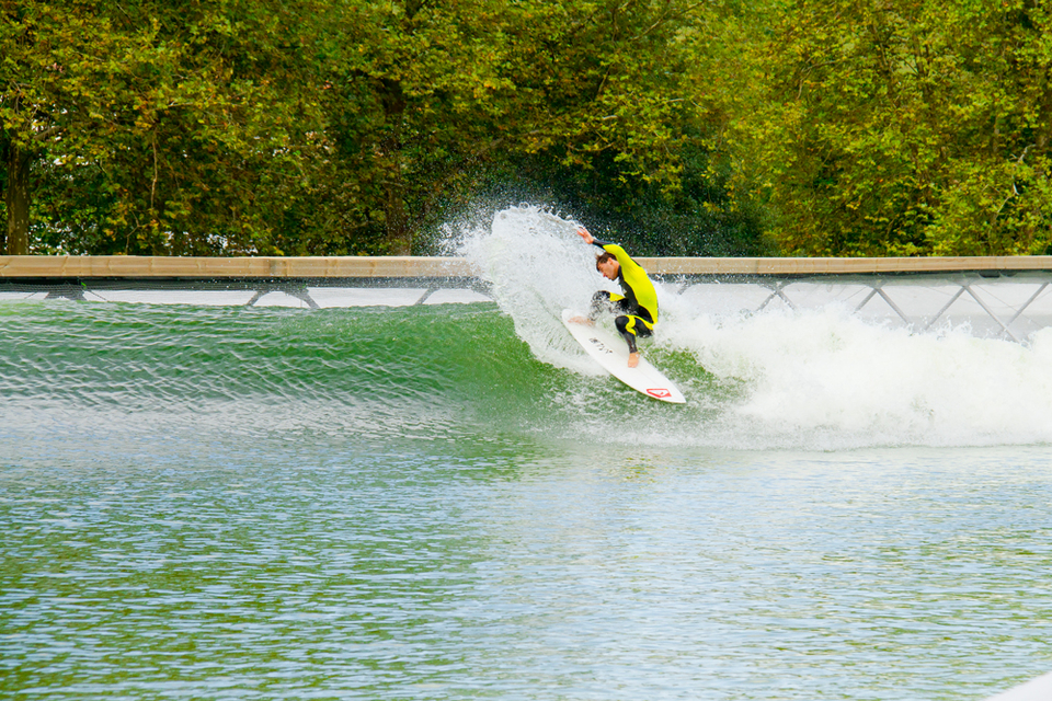 Aritz Aranburu sampling the technology of the Wavegarden in the Basque Country