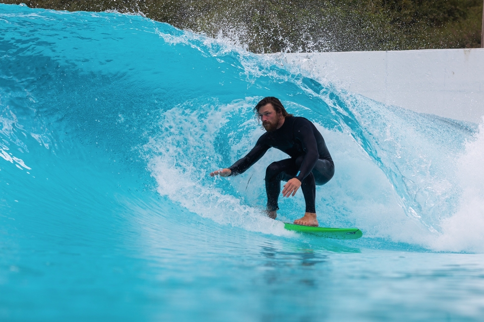 Sir Ben Skinner, Euro longboard royalty, here, tucking into the test facility in the Basque Country.