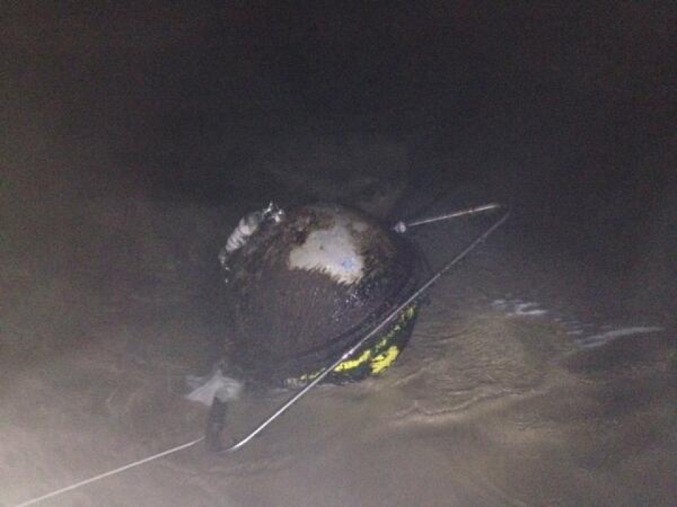 The wave buoy at Perranporth was ripped from its tether on Saturday, looking a sorry sight when it eventually washed up.
