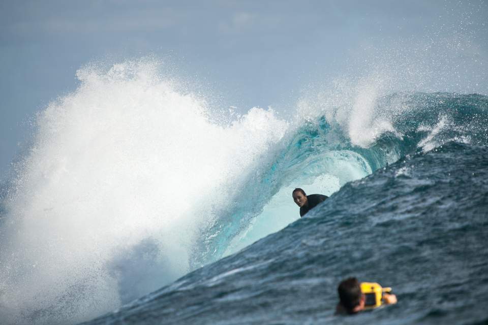Or perhaps it is Carissa Moore? The double world champion was navigating the reef like a seasoned veteran.