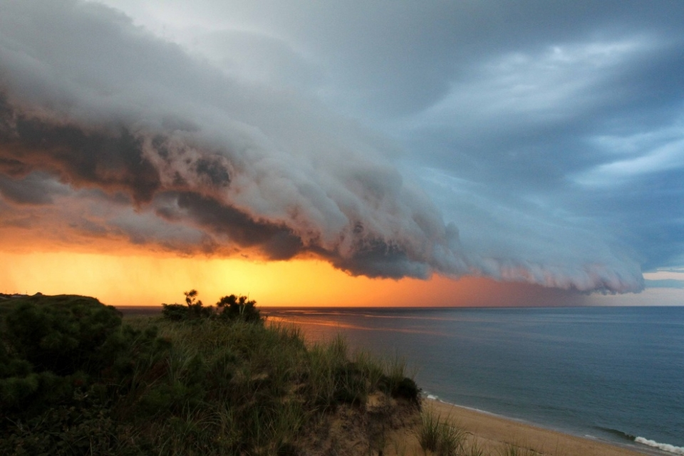 Cape Cod, New England.  A towering weather front hits Massachusetts.