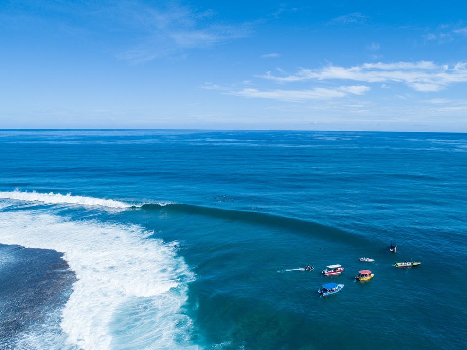 Pulled back from a drone, you can see the machinations of Teahupoo.
