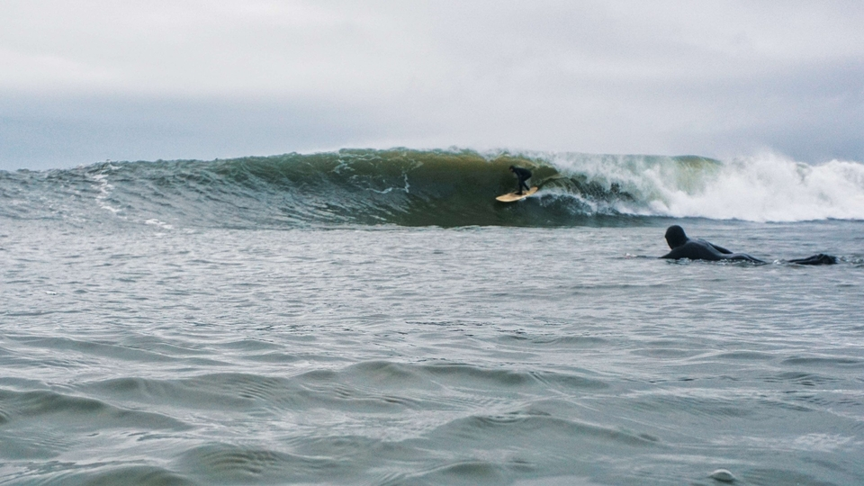 Craig Butler found surf close to home, the swell so big, it set this locale off for the first time in 11 years.