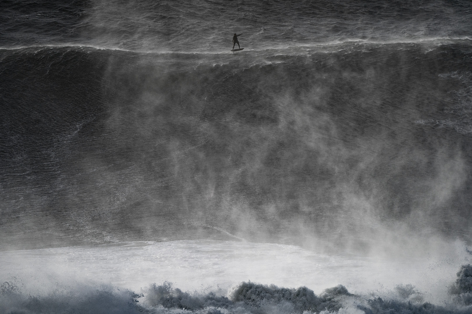 Laird Hamilton has spent the past few days foiling around Nazare's colossal peaks.