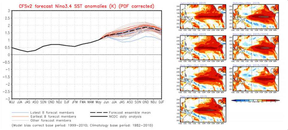 Almost all of the models indicate SST anomalies will remain greater than or equal to +0.5C through the end of 2015.