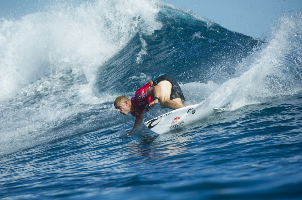 """Mick Fanning lost to a Hobgood, as does tend to happen in Fiji, and faces Alex Gray in Rd 2.   """"Mick's a great competitor and I knew it was going to be tough,"""" Hobgood said. """"I was nervous before heat and just got it rolling right at the start. Towards the end, I creased my board, but I knew I couldn't leave Mick in the lineup with priority. I saw him get the 6 and knew I couldn't give him a good wave. I knew I'd have to make him earn it."""""""