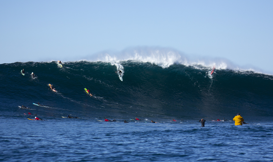 Greg Long, and, to the right of the frame, MSW's Matt Rode after charging the wave before.