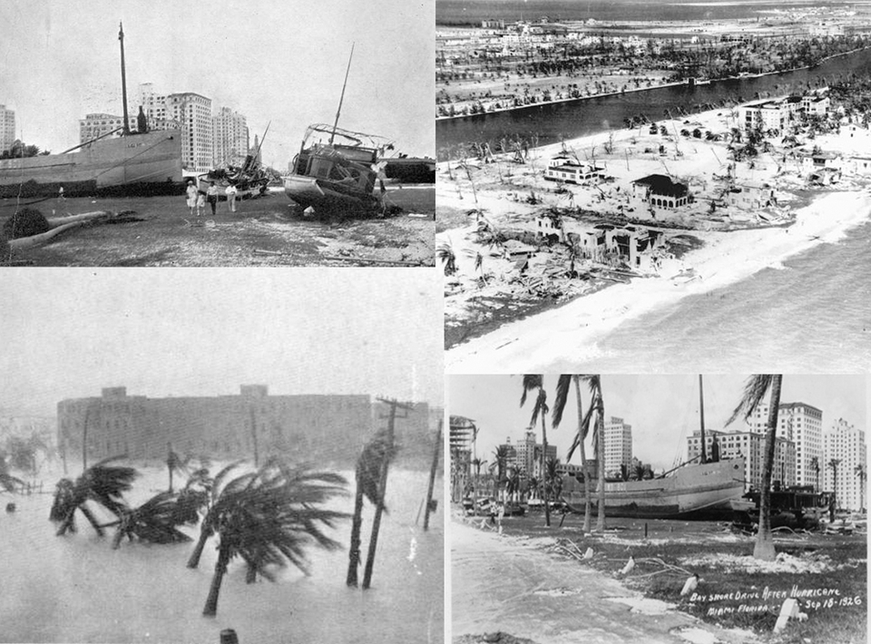 Damage from the Great Miami Hurricane in 1926 which left ships dry docked in the streets.