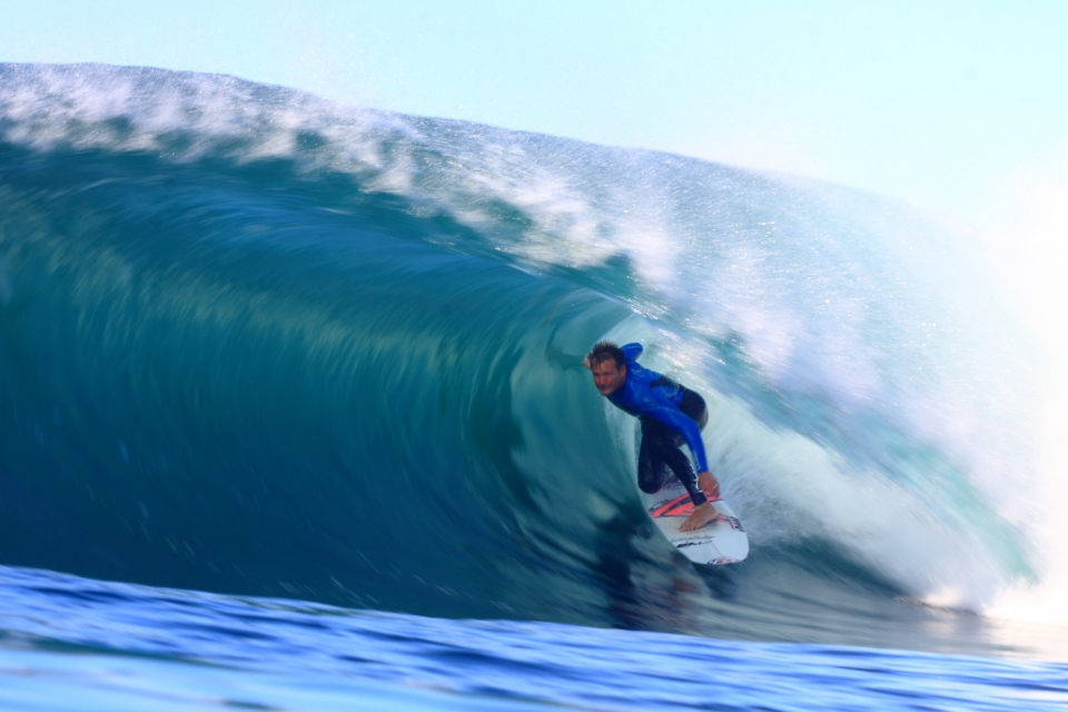 Greg Emslie at the East London Ledge. A top South African surfer at a perfect South African wave.