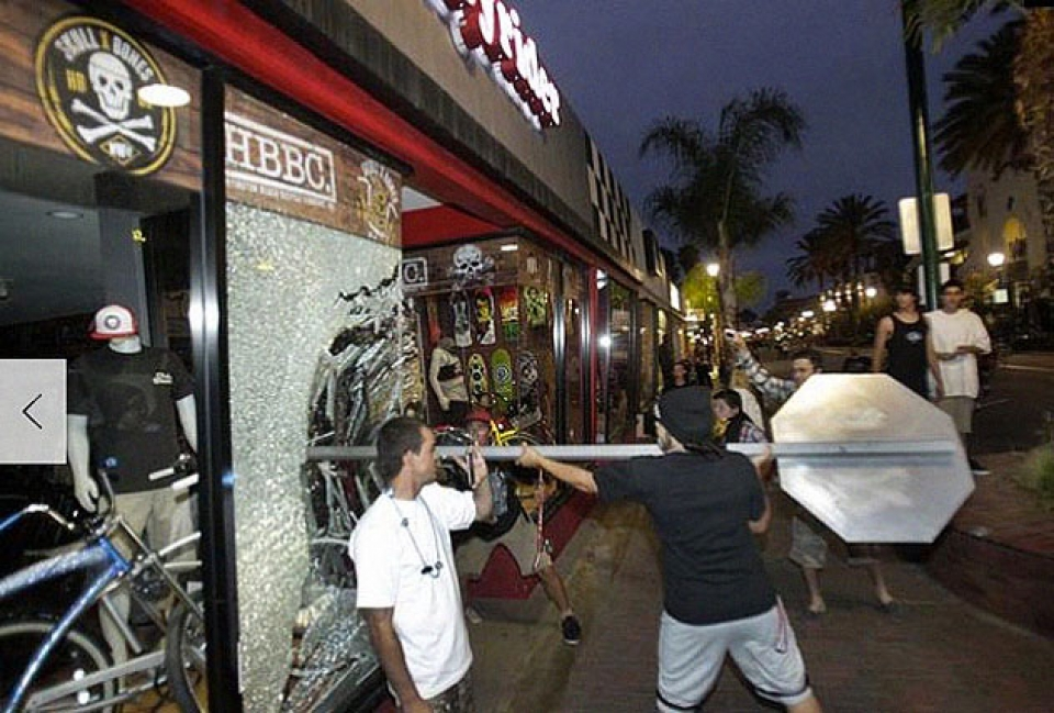 Rioters managed to steal one bike from this shop before being chased away by locals.