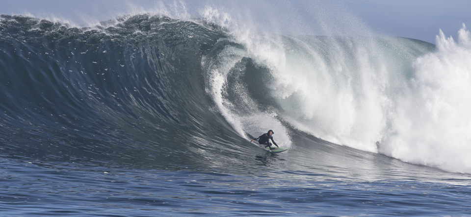 It was Adrien Toyon's first surf out at Dungeons, making the long flight over from Reunion to South Africa.