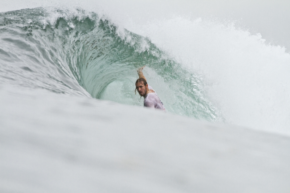Mark Zunckel from South Africa in a stand-up barrel at Keramas.