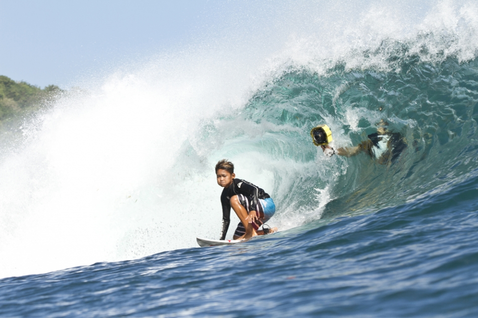 Bali grom Rio Waida from Jimbaran on a day when other surfers were afraid to go in the water. He came 4th at the Magic Wave La Plancha Surfing Championship in the Under 14 Division on Saturday, July 28th.