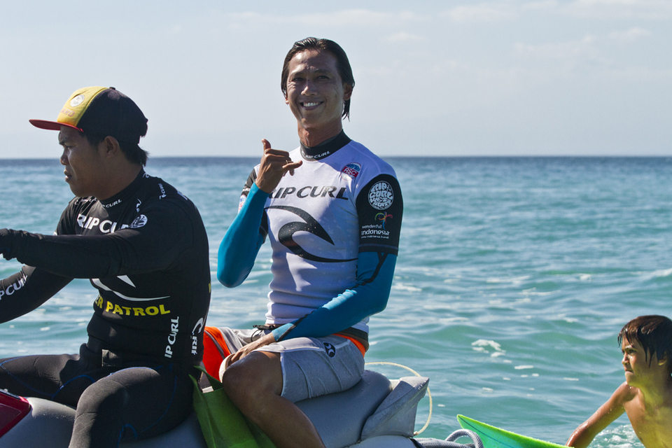 He may not have claimed the victory, but the father of Balinese surfing, Rizal Tandjung, is still smiling.