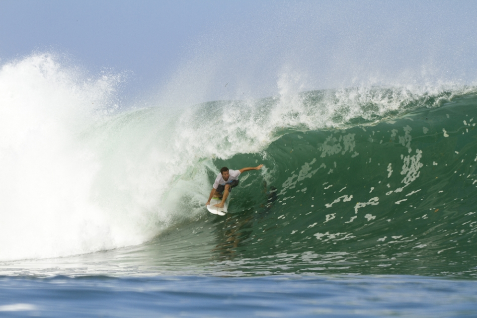 John McGuirl in the perfect Padang setup, a pitching lip take-off that sets up into a perfectly cylindrical wall.
