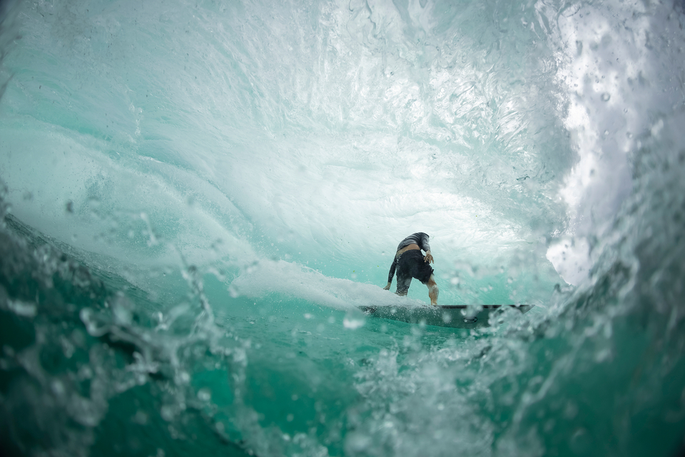 """""""This barrel was just enormous. I mean, Rizal Tandjung is 6'1"""" and he is standing straight up, so that gives you the idea of how much room there was. The lip actually blew my left fin off my foot."""