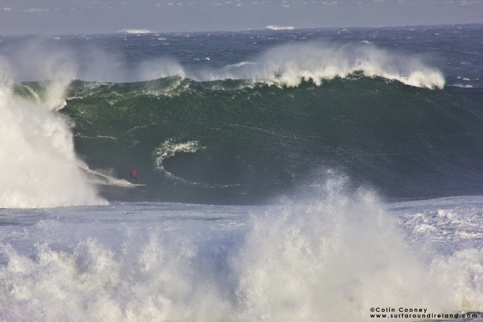 Mullaghmore was big and grisly during the swell, rarely opening up for those few who towed in. Ollie O Flaherty finds himself in a tight spot.