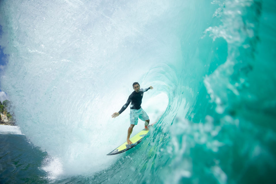"""Adi Putra is the kind of surfer that makes my job easy. His lines are so clean and stylish and relaxed that the photos make themselves. I guess that is why he has won the Rip Curl Cup twice. Plus, the alpha male out at Padang Padang, he eats first."