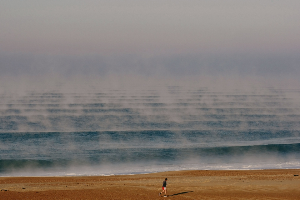 A steaming sea and eternal lines at France's most famous beachbreak.