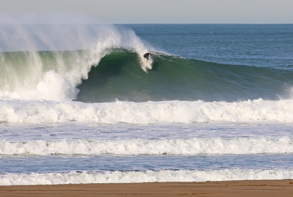 Damien Hobgood was alone this day. Most were daunted by the horrid paddle and occasional triple overhead set.
